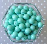 12mm Aqua solid bubblegum beads for children's jewelry