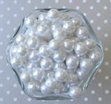 12mm White pearl bubblegum beads