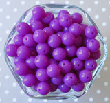 12mm Bright purple solid bubblegum small chunky beads