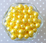 12mm Lemon yellow pearl small chunky bubblegum beads