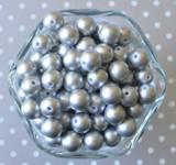 12mm Matte silver pearl small chunky bubblegum beads