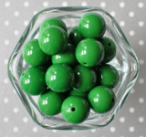 Emerald green 20mm solid colored bubblegum beads