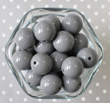 Grey 20mm solid colored bubblegum beads