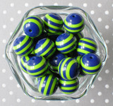Navy blue and lime green striped 20mm bubblegum beads