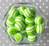 Lime green and white striped 20mm bubblegum beads