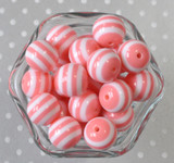 Blush pink and white striped 20mm bubblegum beads