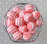 Blush pink and white striped 20mm bubblegum beads