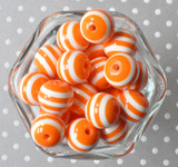 Orange and white striped 20mm bubblegum beads