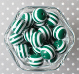 Dark emerald and white striped 20mm bubblegum beads