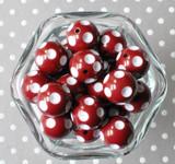 Cranberry red polka dot 20mm bubblegum beads