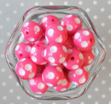 20mm Hot pink polka dot bubblegum beads