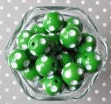 Emerald green polka dot 20mm bubblegum beads