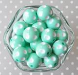 20mm Mint polka dot chunky bubblegum beads for children's jewelry