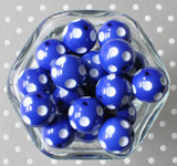 Royal blue polka dot 20mm bubblegum beads