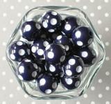 Dark navy blue polka dot 20mm bubblegum beads