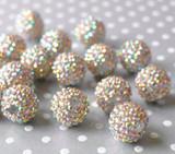 20mm Light gold metallic AB rhinestone bubblegum beads