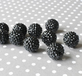 20mm Black rhinestone chunky resin beads