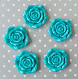 42mm Turquoise blue resin flower beads wholesale