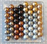 Silver, gold, and brown pearls bubblegum bead wholesale variety mix