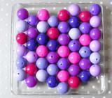 Shades of Purple and fuchsia solids bubblegum bead wholesale variety mix