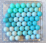 Aqua and turquoise solids bubblegum bead wholesale variety mix