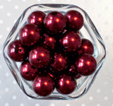 20mm Burgundy red pearl bubblegum beads