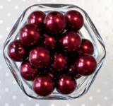 20mm Burgundy red pearl bubblegum beads