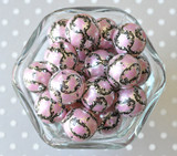 20mm Pink and black damask printed bubble gum gumball beads