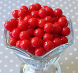 12mm Red solid bubblegum beads
