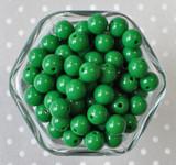 12mm Emerald green solid bubblegum beads