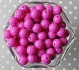 12mm Wild berry fuchsia solid bubblegum beads