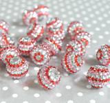 20mm Valentine's Day striped rhinestone bubblegum beads