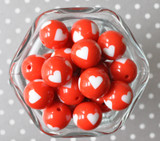 20mm Red with white heart printed bubblegum beads
