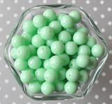 12mm Mint fizz green solid small bubblegum beads in bulk