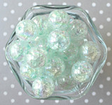 20mm Mint AB crackle bubblegum beads