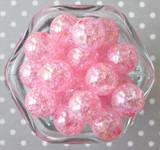 20mm Pink AB crackle bubblegum beads in bulk