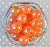 20mm Orange AB crackle bubblegum beads