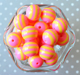 20mm Hot pink and yellow striped bubblegum beads in bulk
