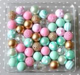 Mint, pink, and metallic gold bubblegum bead wholesale kit