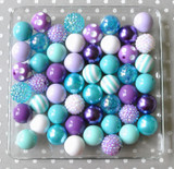 Aqua, turquoise, and purple bubblegum bead wholesale kit
