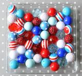 Nautical Fun blue, red, and white bubblegum bead wholesale kit