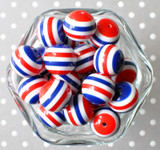 20mm Navy, red, and white striped bubblegum beads, fourth of july beads