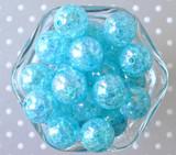 20mm Ocean blue AB crackle bubblegum beads