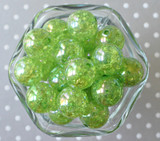 20mm Lime green AB crackle bubblegum beads