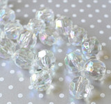 20mm Clear AB faceted bubblegum beads
