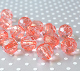 20mm Coral rose acrylic faceted bubblegum beads