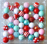 Winter wonderland red, pink, aqua bubblegum bead wholesale kit