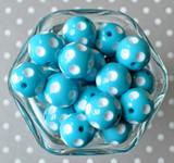 20mm Island Turquoise blue polka dot bubblegum beads