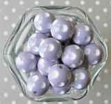20mm Dusty lavender polka dot bubblegum beads