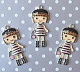 Tres chic girl chunky rhinestone pendant
